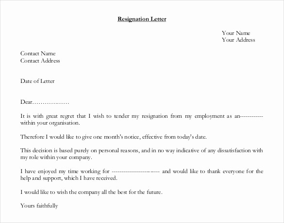 Letter Of Resignation Template Download Luxury 27 Resignation Letter Templates Free Word Excel Pdf