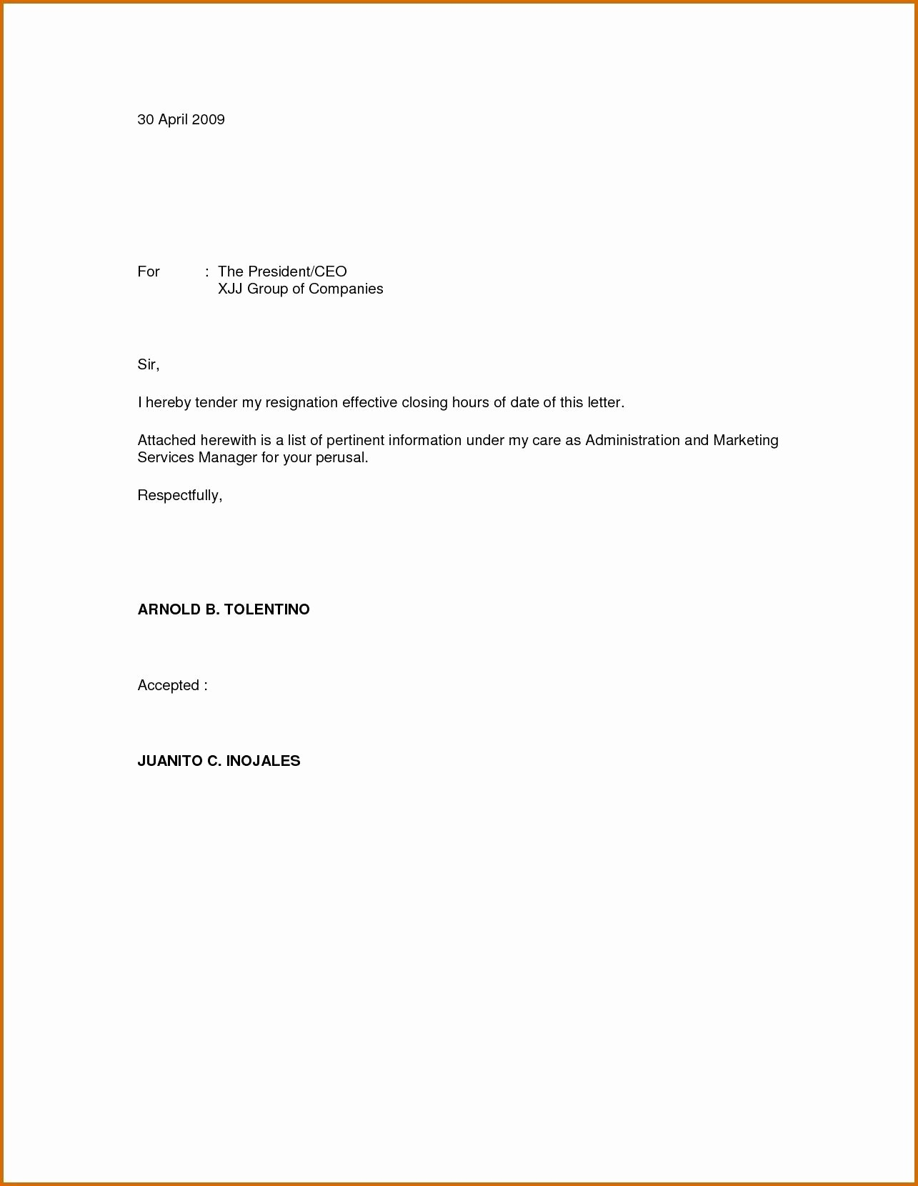 Letter Of Resignation Template Download New Immediate Resignation Letter Template Examples
