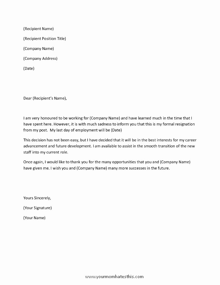 Letter Of Resignation Template Download Unique Download Resignation Letters Pdf & Doc