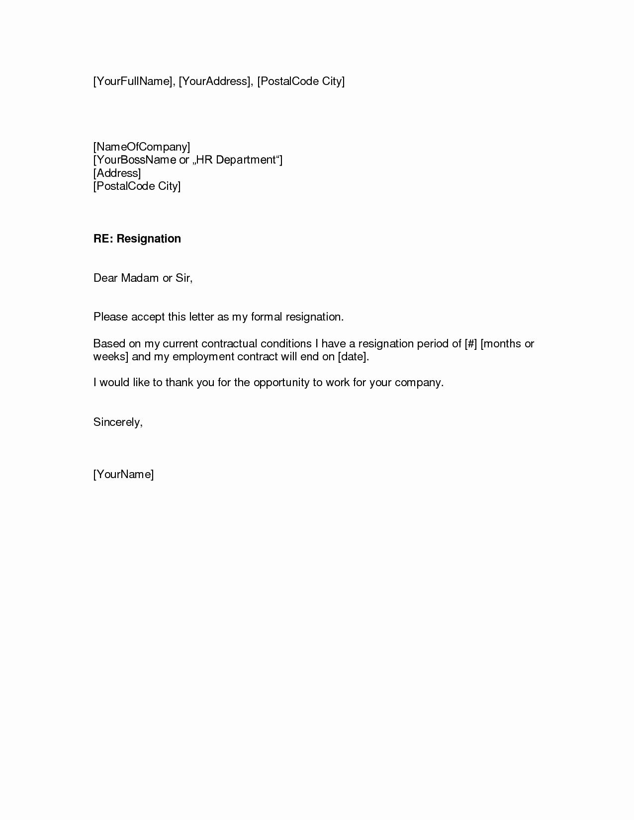 Letter Of Resignation Template Download Unique Download Resignation Letters Pdf & Doc