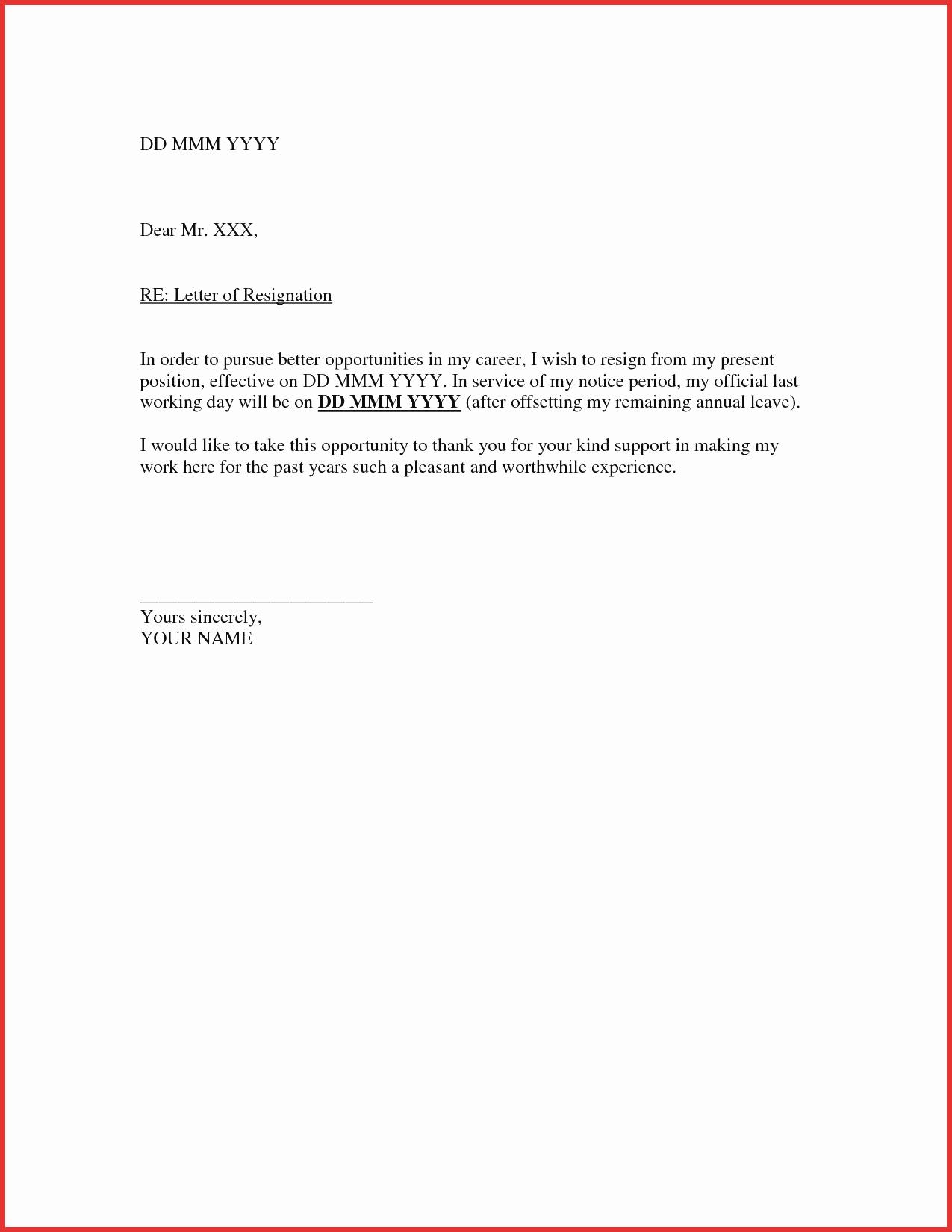 Letter Of Resignation Template Microsoft Awesome New Resignation Template