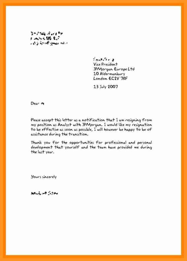 Letter Of Resignation Template Microsoft Best Of 3 4 Resign Letter Uk