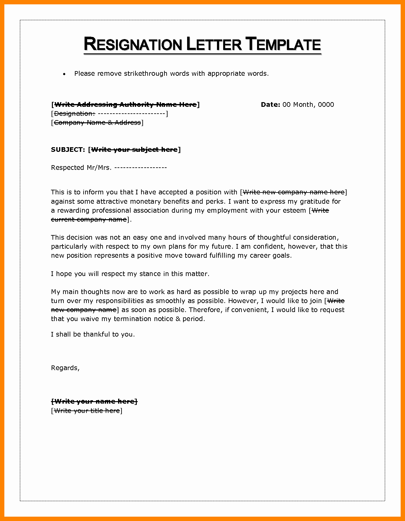 Letter Of Resignation Template Microsoft Best Of 6 Letter Of Resignation Template Word