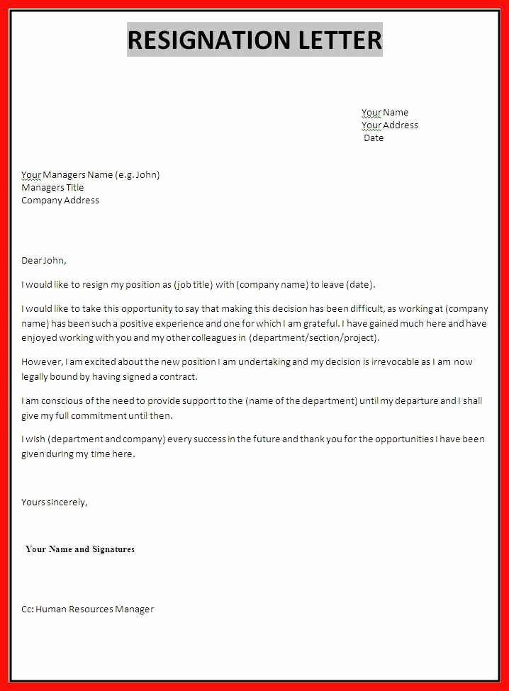 Letter Of Resignation Template Microsoft Elegant Letter Of Resignation form