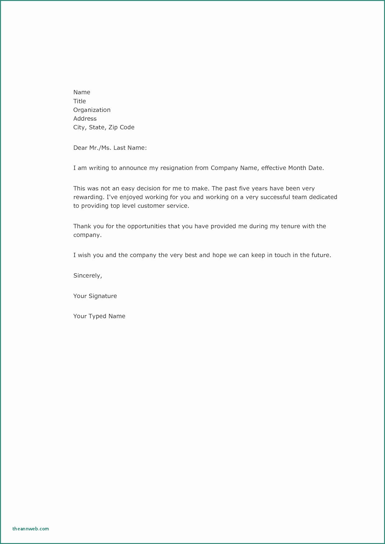 Letter Of Resignation Template Microsoft Elegant Template Letters Resignation Two Week Notice Template