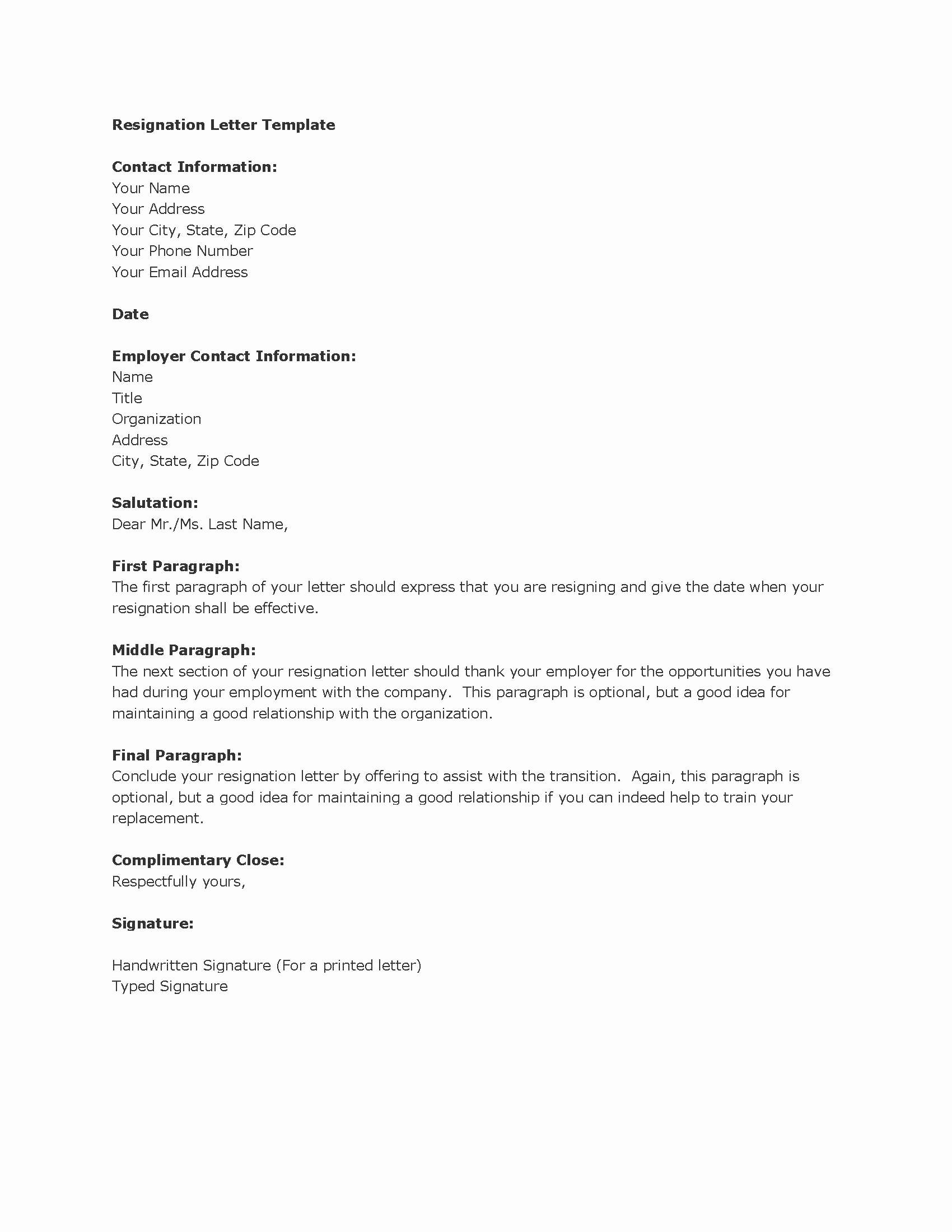 Letter Of Resignation Template Microsoft Inspirational Best Letter Of Resignation Template