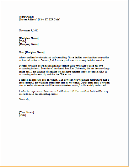 Letter Of Resignation Template Microsoft Inspirational Ms Word formal Resignation Letter Template