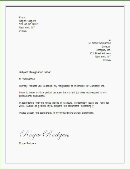 Letter Of Resignation Template Microsoft Inspirational Resign Letter In Word format – thepizzashop