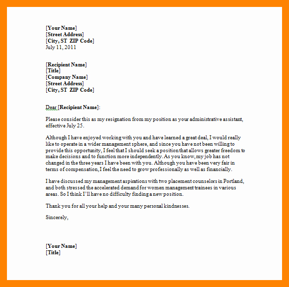 Letter Of Resignation Template Microsoft New 5 Microsoft Word Letter Of Resignation Template