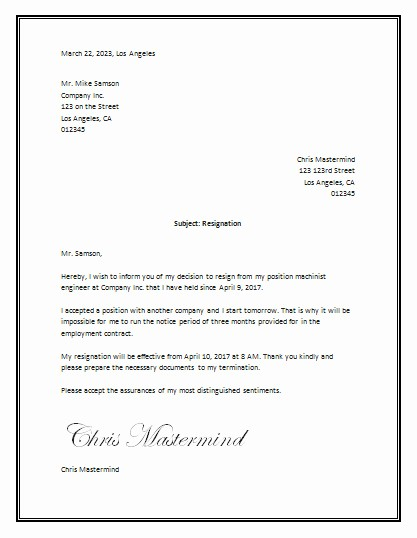 Letter Of Resignation Template Microsoft Unique Microsoft Word Resignation Letter Template Letter Of