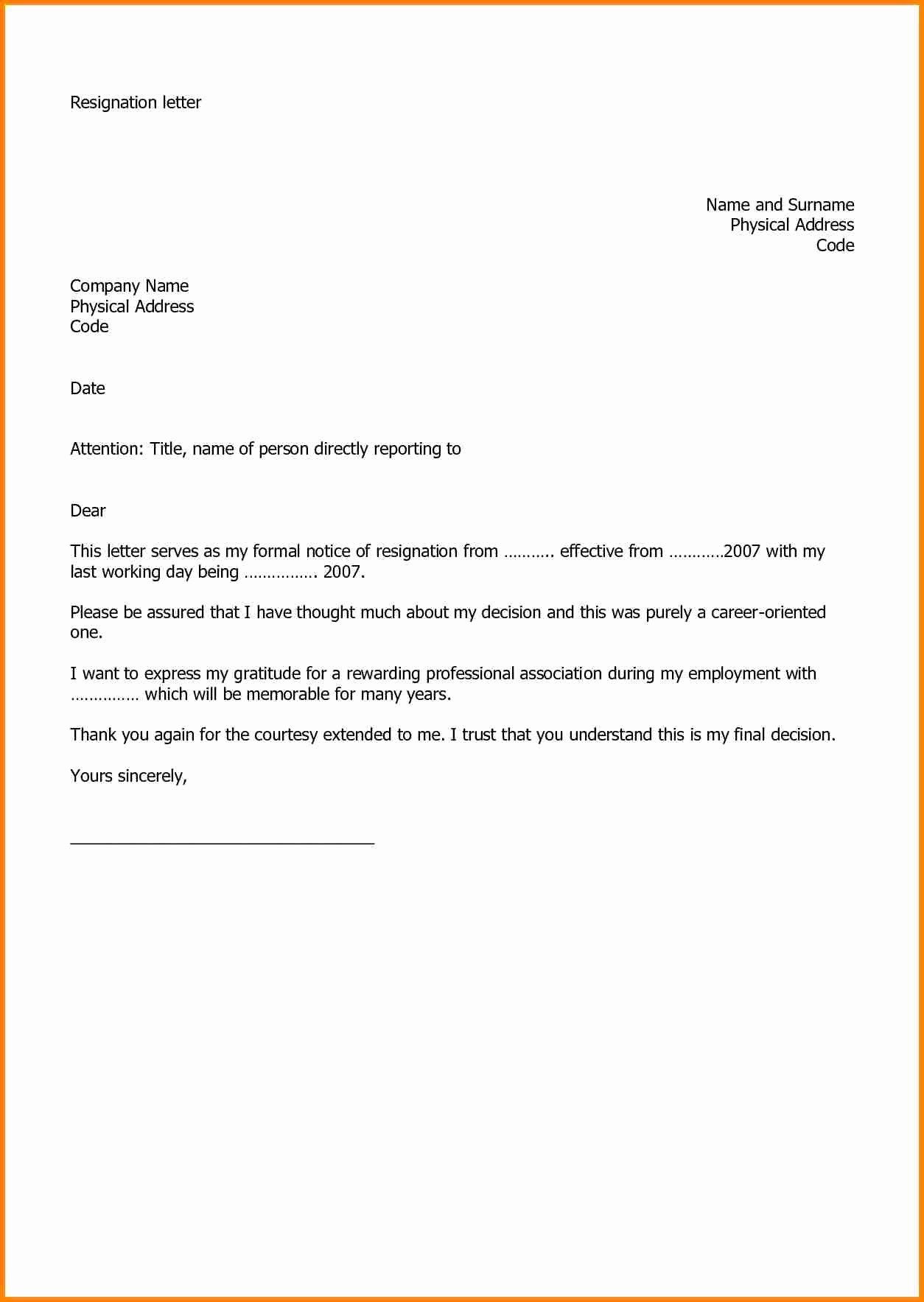 Letter Template for Microsoft Word Best Of 5 Microsoft Word Letter Of Resignation Template