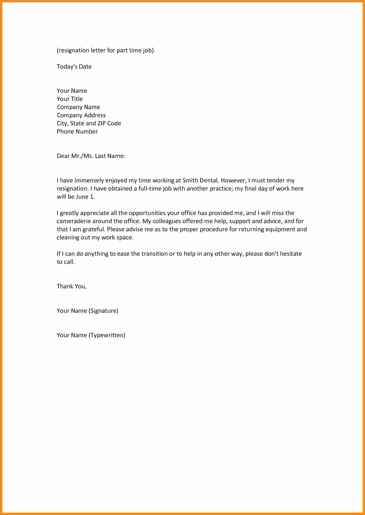 Letter Template for Microsoft Word Fresh Template Resignation Letter Template Word