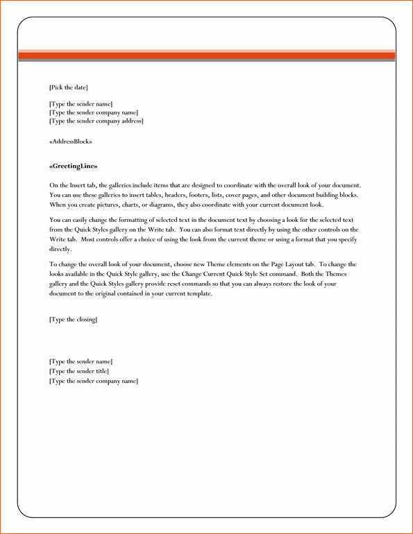 Letter Template for Microsoft Word Lovely 8 Microsoft Word Business Letter Template