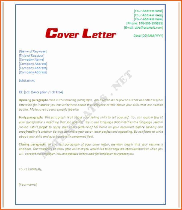 Letter Template for Microsoft Word Lovely 8 Microsoft Word Cover Letter Template Bud Template