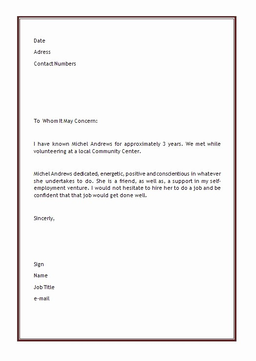 Letter Template for Microsoft Word Unique Personal Letter Of Re Mendation Template