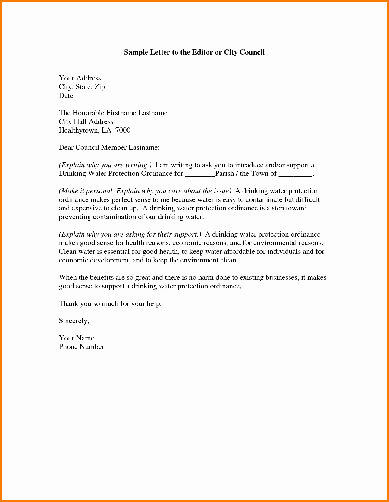 Letter to City Council Template Awesome 10 formal Letter Editor