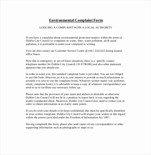 Letter to City Council Template Best Of 13 Environment Plaint Letters Pdf Word Apple Pages