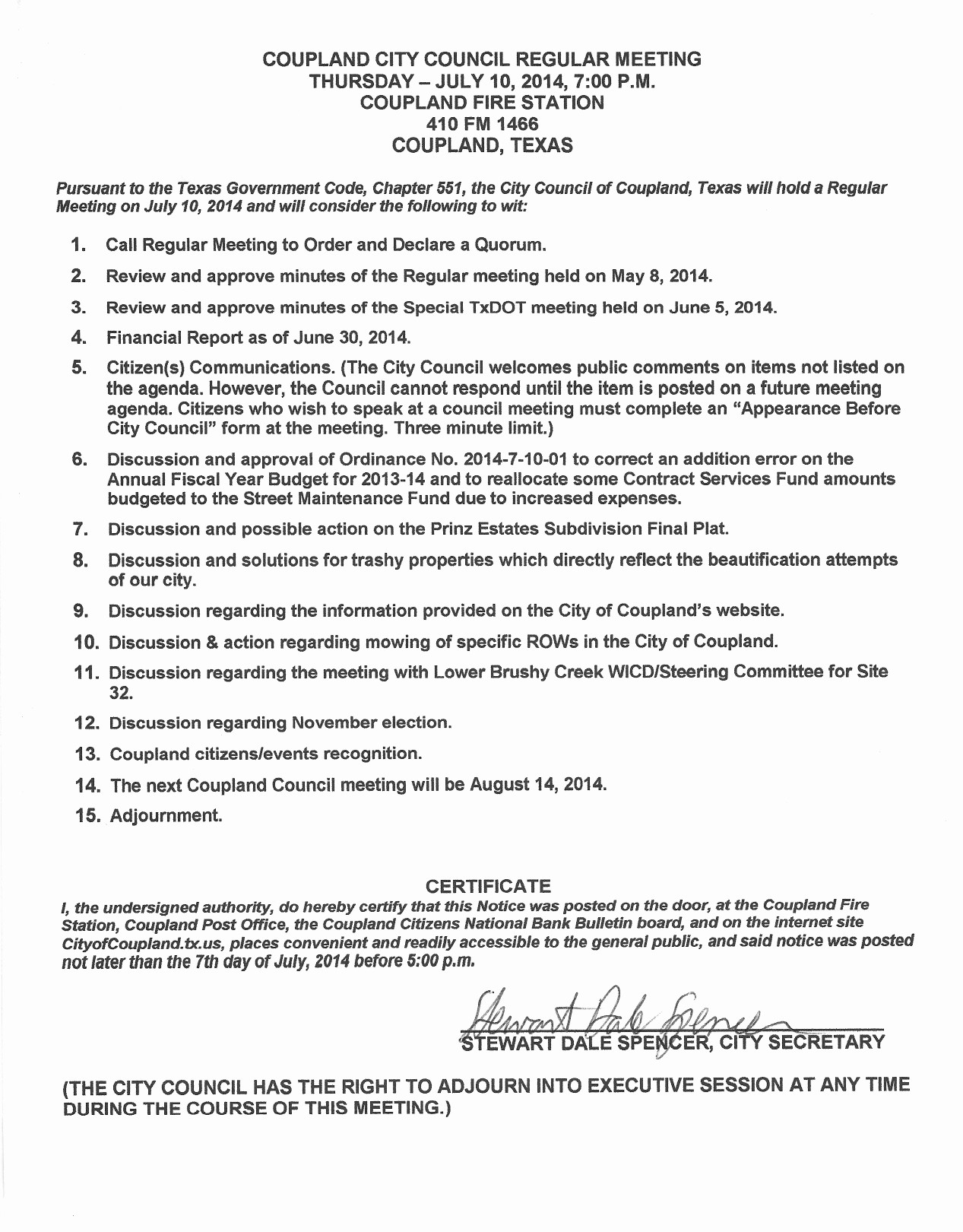 Letter to City Council Template Inspirational City Council Meeting Agenda for July 10 2014 – City Of