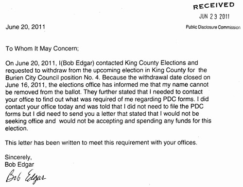 Letter to City Council Template Inspirational Letter States that Bob Edgar Has withdrawn From Burien