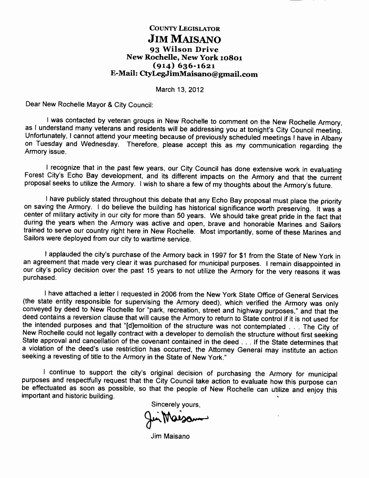 Letter to City Council Template Lovely County Legislator Maisano Fers Support for Armory Re Use