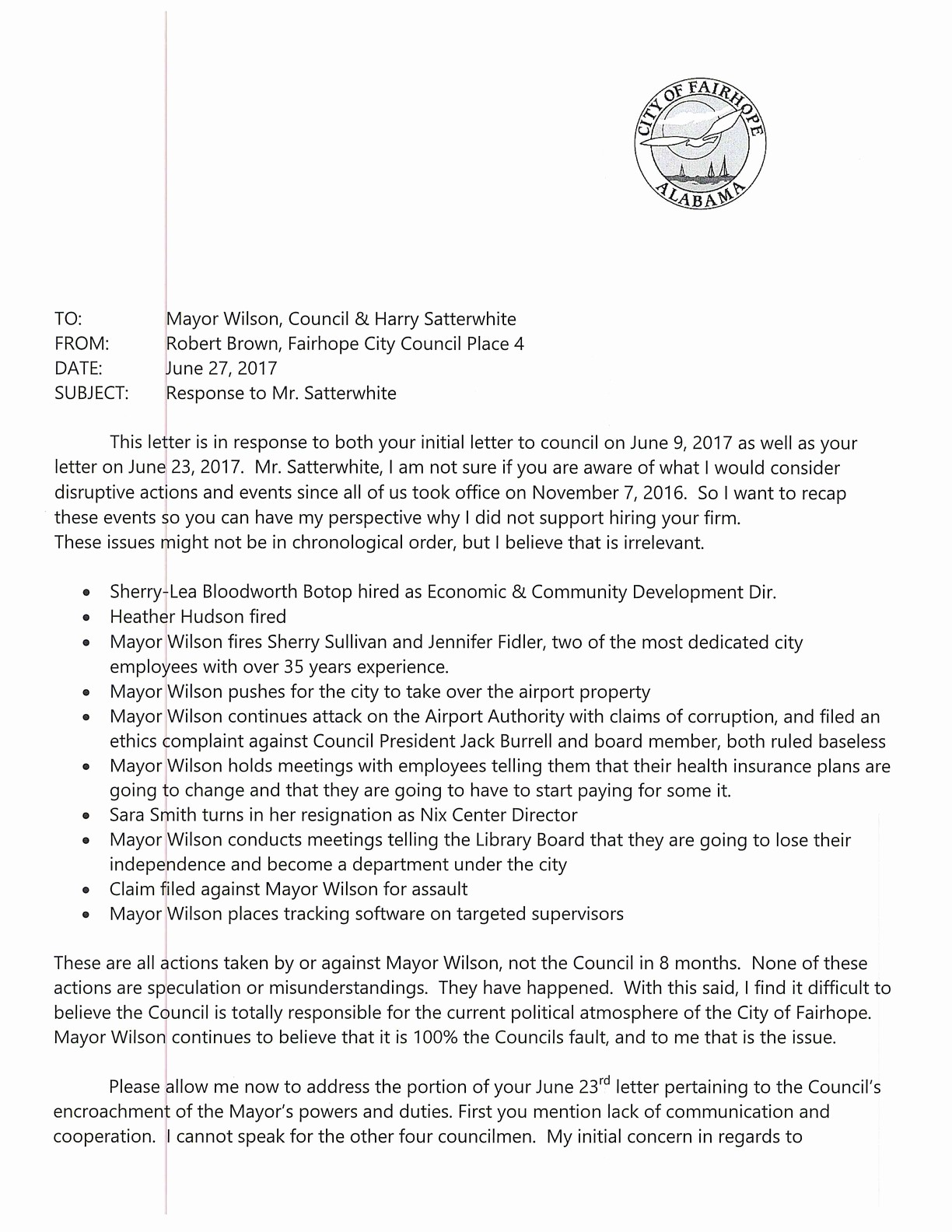 Letter to City Council Template Luxury Fairhope Councilman Lays Out issues Between Council Mayor