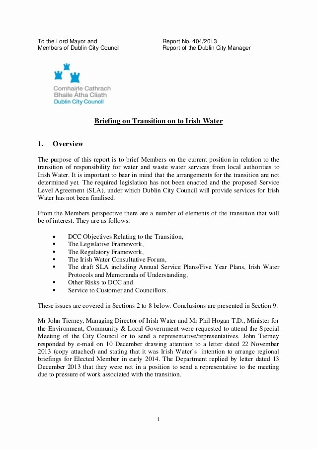 Letter to City Council Template New Briefing to Dublin City Council On Irish Water
