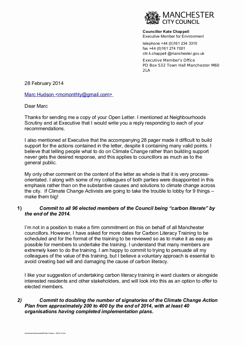 Letter to City Council Template New Manchester Council Climate Boss Replies to Open Letter