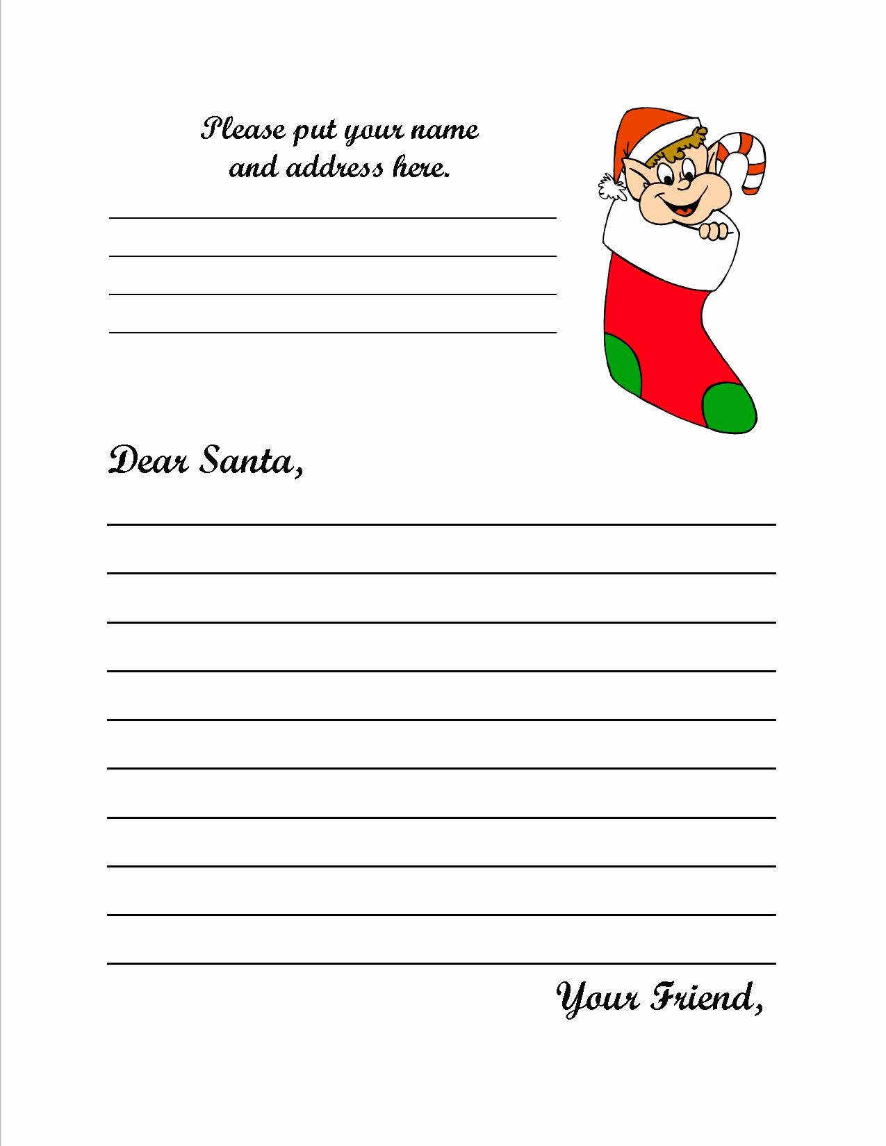 Letter to Santa Claus Templates Awesome 8 Best Of Santa Claus Letter Template Printable