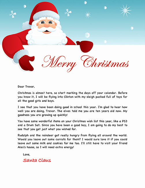 Letter to Santa Claus Templates Awesome Sample Letters From Santa Claus