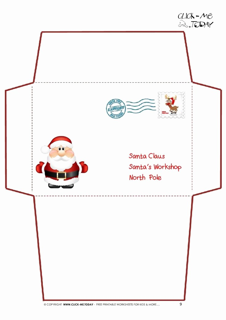 Letter to Santa Claus Templates Best Of Printable Letter to Santa Claus Envelope Template Cute