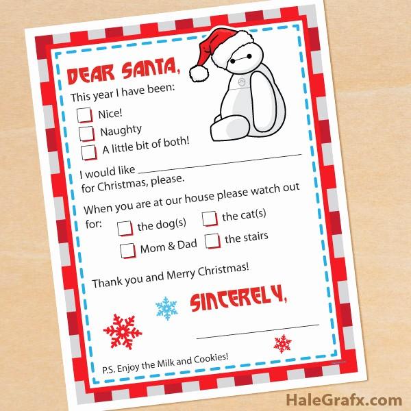 Letter to Santa Claus Templates Elegant Free Printable Big Hero 6 Letter to Santa Claus