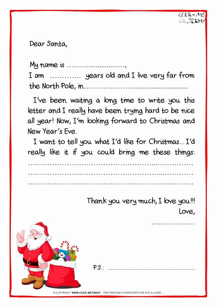Letter to Santa Claus Templates Elegant Letter to Santa Claus Black & White Free Template Ps