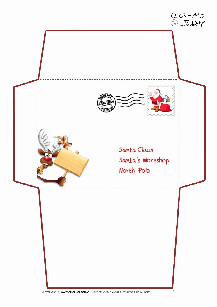 Letter to Santa Claus Templates Elegant Santa Claus Envelope Template Invitation Template