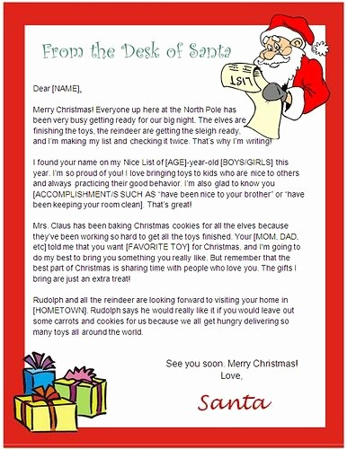 Letter to Santa Claus Templates Inspirational Santa Claus Letter Template Invitation Template