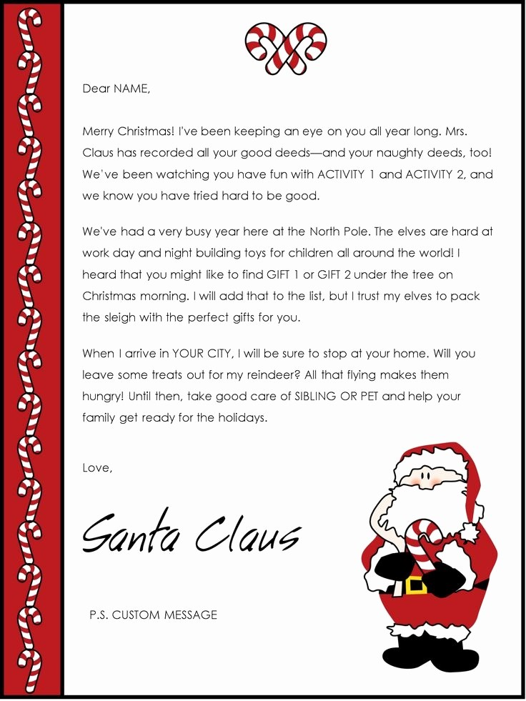 Letter to Santa Claus Templates Lovely Free Printable Letters From Santa Claus Templates Letter