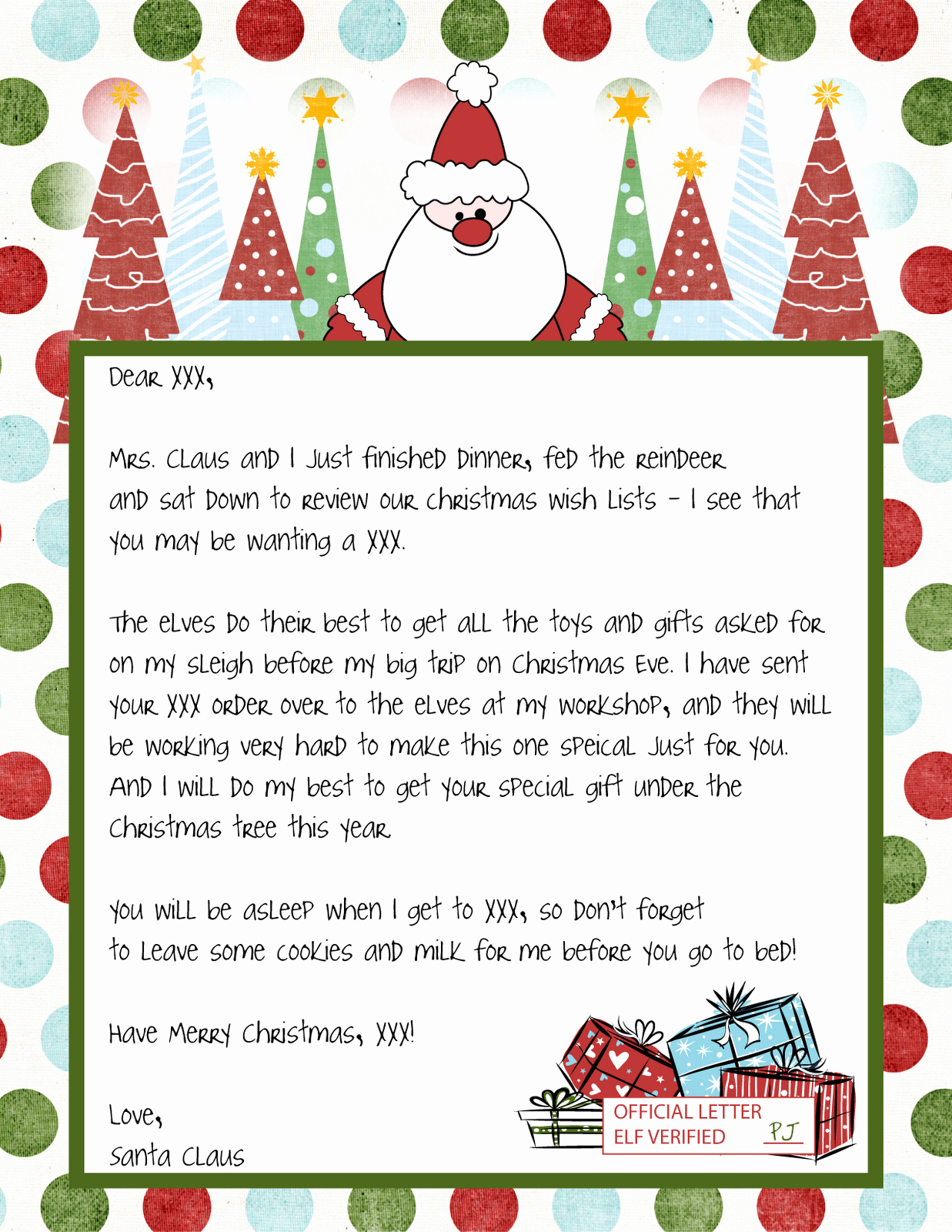 Letter to Santa Claus Templates Lovely Letter From Santa Template Free