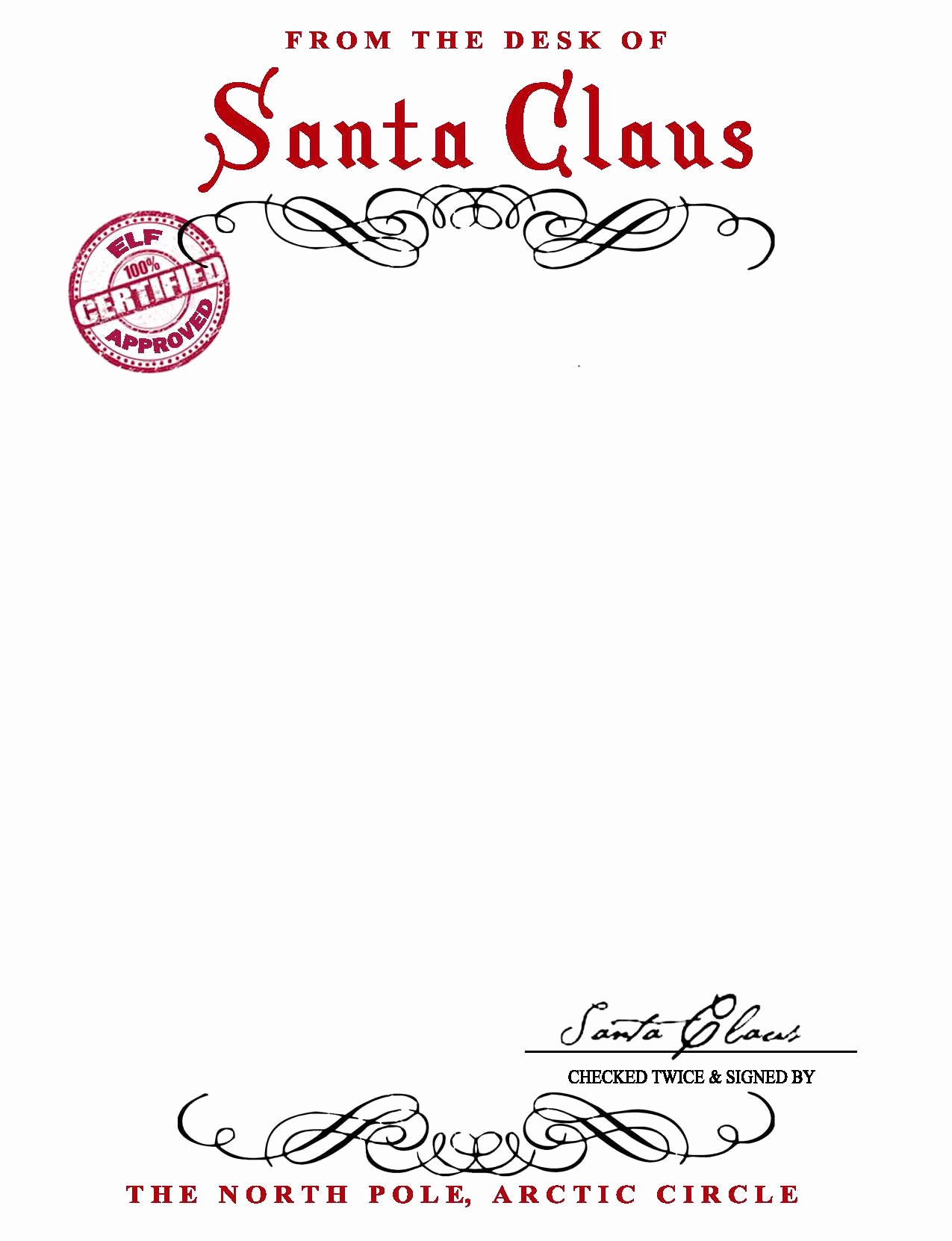 Letter to Santa Claus Templates Luxury Best S Of Letter From Santa Stationary Template