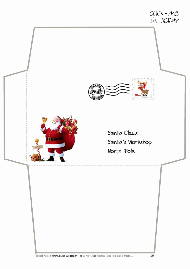 Letter to Santa Claus Templates Luxury Envelope for Letter to Santa Claus Craft Black & White