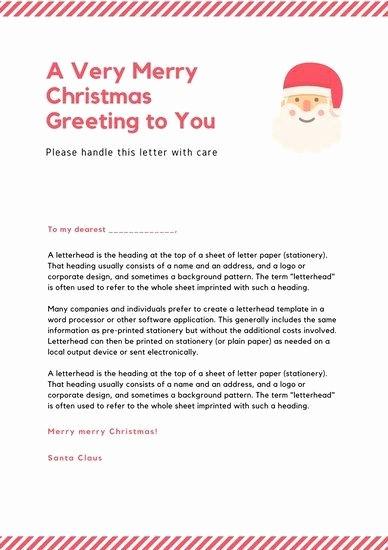 Letter to Santa Claus Templates Luxury Santa Claus Letterhead Template Sample Letter Template