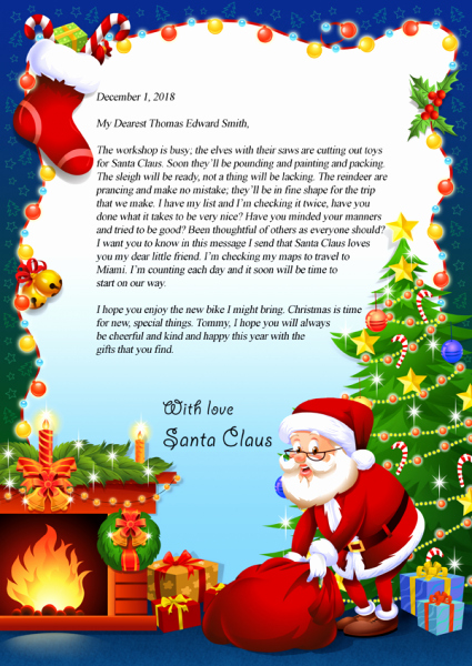 Letter to Santa Claus Templates New Letter From Santa Claus Brownbooksandprints