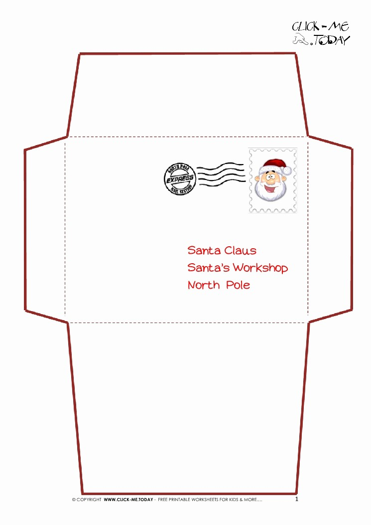 Letter to Santa Claus Templates New Printable Letter to Santa Claus Envelope Template Simple