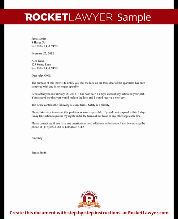 Letter to Tenant About Repairs Beautiful Plaint Letter to Landlord Template with Sample