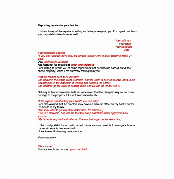 Letter to Tenant About Repairs Best Of Plaint Letter to Landlord – 8 Free Word Pdf Documents