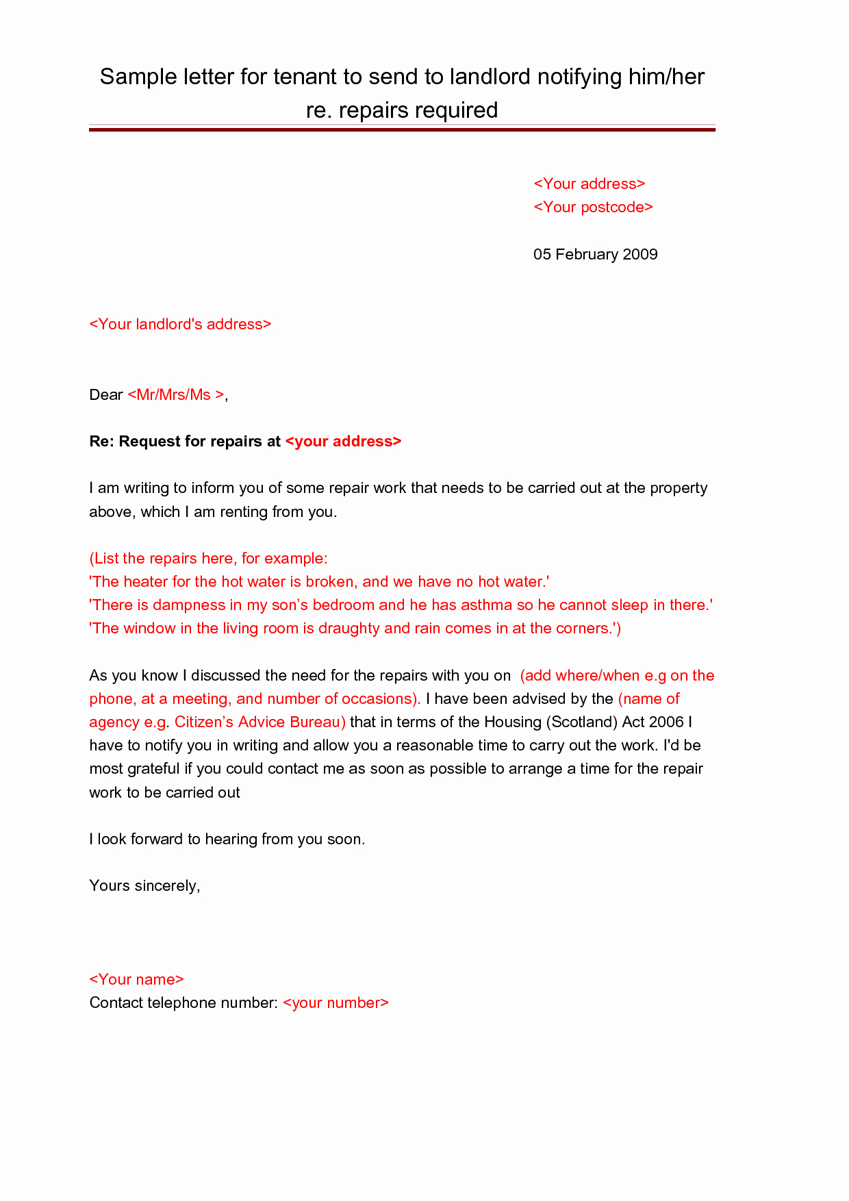 Letter to Tenant About Repairs Elegant Best S Of Tenant Notice Letter for Repairs Tenant