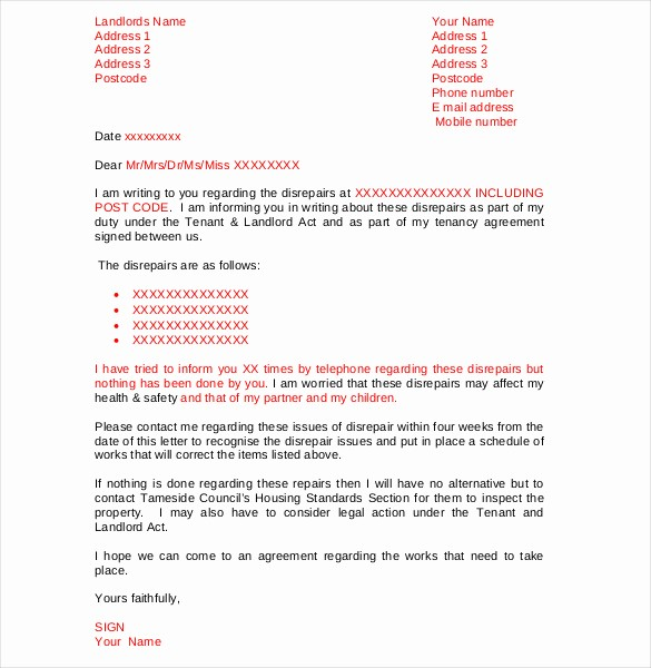 Letter to Tenant About Repairs Lovely 9 Tenant Plaint Letter Templates – Free Sample