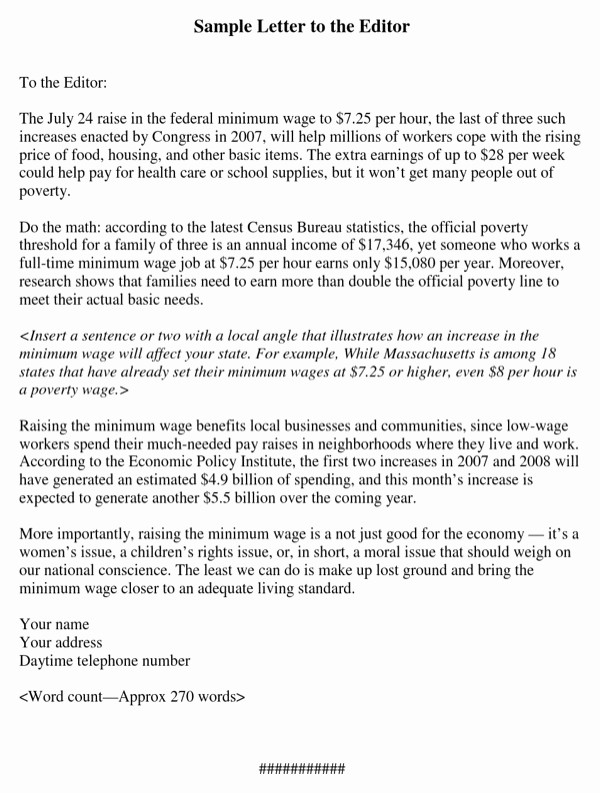 Letter to the Editor Templates Beautiful Download Letter to the Editor Example 3 for Free