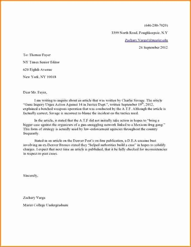 Letter to the Editor Templates Fresh Image Result for Letter to Editor format