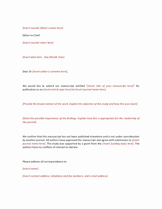 Letter to the Editor Templates Luxury Cover Letter Template Short&extebded for Journal Editor
