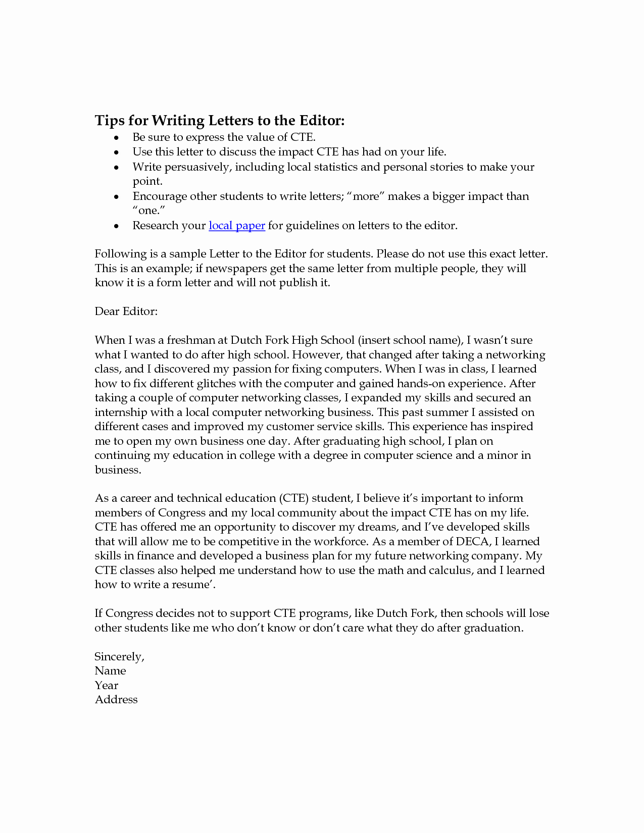 Letter to the Editor Templates New Letter to Editor format Cover Letter Samples Cover