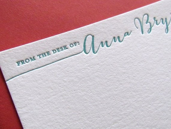 Letterhead From the Desk Of Beautiful Letterpress From the Desk Of Personalized Stationery Set Of